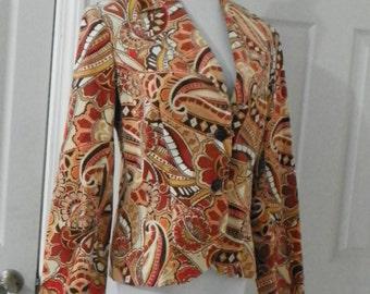 August silk vintage paisley corduroy jacket size 8