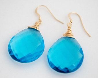 Blue Quartz Earrings, Bright Blue Quartz Earrings, Blue Drop Earrings, Gemstone Earrings, Wire Wrap Earrings, Blue Earrings, Quartz Earrings