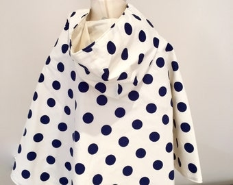 Girls Reversible Hooded Cape. Size 2-6. Cream with dark blue dots. Cotton