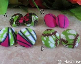 Ankara Medium Button Earrings