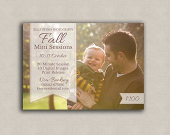 Marketing Mini Session Template, one sided photographers photoshop board, Fall Template, photography boards