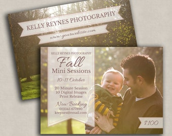 Fall Mini Session Template, Photo template, Two-sided Marketing PSD, Promotional Photography Card, Instant Download for Photographers