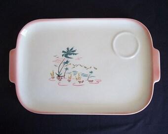 Vintage 50s Brock California Aloha 2 Handle Snack Tray
