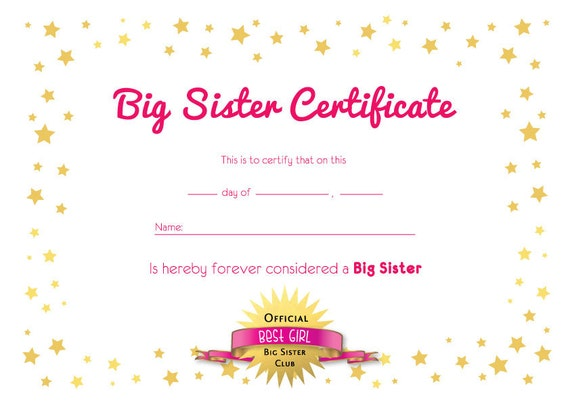 Cozy Big Sister Certificate Clipart - Costumepartyrun