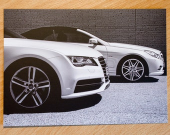 Postcard, Cars, Blackpool, Wheels, Black And White, Audi, Mercedes, Automobile,
