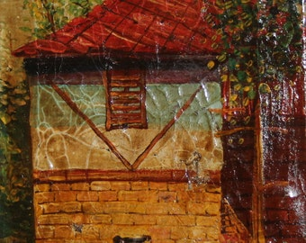 House landscape oil painting impressionism