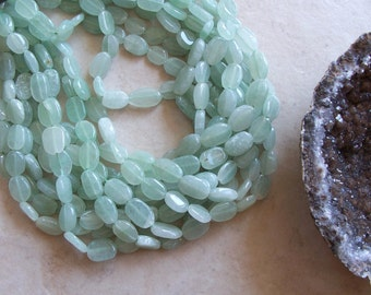 "Light Green Aventurine Gemstone Smooth Polished Oval Nugget Beads 14"" Strand 10mm-13mm ~ Jewelry Making Supply"