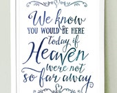 Wedding Sign Instant Printable  // We know you'd be here today if Heaven weren't so far away // Watercolour // MEDIUM SIZE 8x10, 11x14