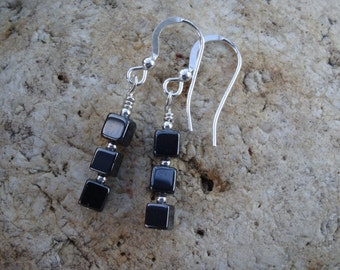 Drop earrings,   Dark grey earrings,  Hematite cubes,  handmade ladies dangle, present for her, birthday gift,