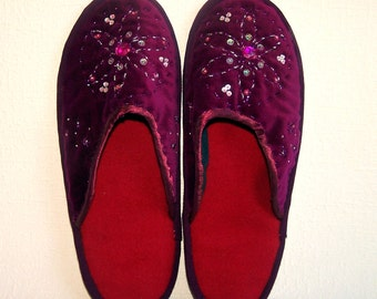 Handmade House Slippers. Ladies' House Shoes. Women's Slippers. Handstitched Mules. Wool Slippers. Gift for Her.