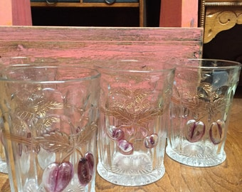 "Northwood ""Plums and Cherries"" Glass Tumblers (set of 4)"