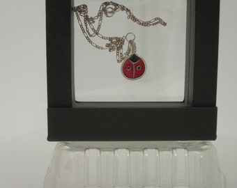 Ladybug plique a jour enamel necklace with silver chain