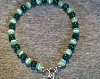 Hunter Green/Pale Green Cats Eye Bead Bracelet
