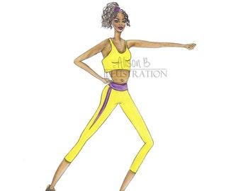 Fitness Print Illustration Watercolor Fashion Gym