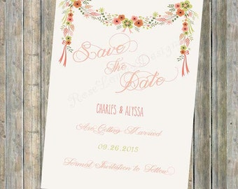 Floral/Rustic Save The Date Invitation/Digital/Instant Download