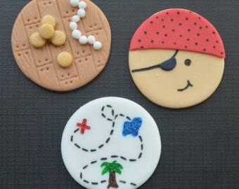 12 Pirate Cupcake Toppers-Fondant