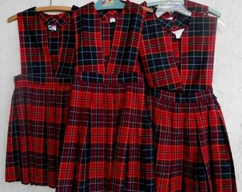 70s Plaid School Girl Uniform Jumper Dress Matching 4 Available Sizes