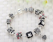 FREESHIPPING Russia Belarus Silver Heart Charm Fit Pandora Bracelet & Bangle With Glass Beads Jewelry