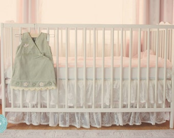Ruffled Baby Crib Skirt {Lace}