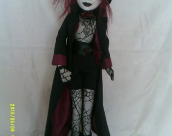 Morella an original art doll,individually sculpted,paperclay,painted in acrylics,cloth body