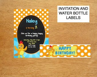 Chica Show Birthday Invitation and Water Bottle Labels DIGITAL FILE
