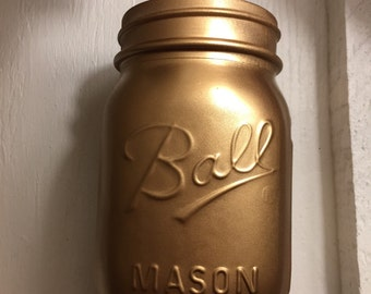 Gold Mason Jar ! Vase , Wedding , Bridal shower, Home Decor, Office
