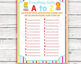 Circus Baby Shower Game Everything Baby A to Z Card, Striped Printable Card, Carnival Baby Shower Games for Baby, Baby Boy Shower