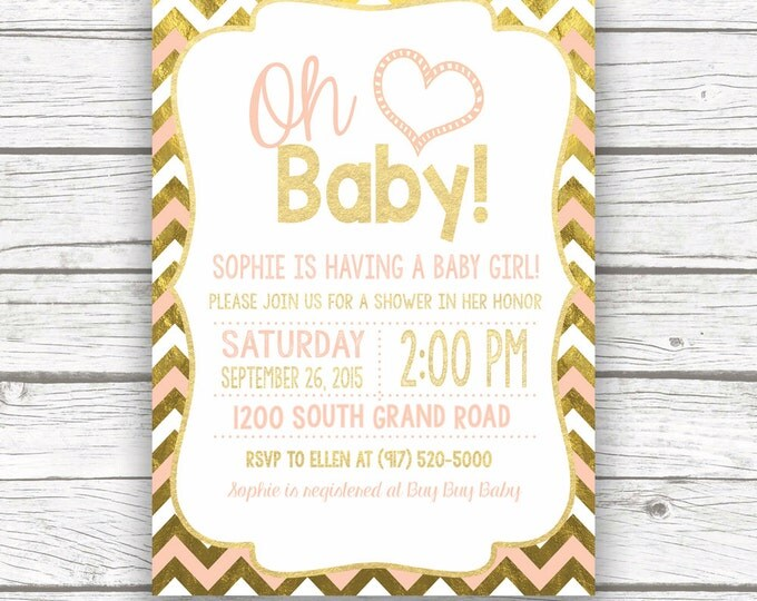 Oh Baby Peach and Gold Foil Chevron Baby Shower Invitation, Pink White Gold Baby Girl Shower Invite, Printed or Printable Invitation