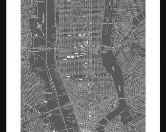 New York Vintage Map - New York - Dark Gray - Print - Poster