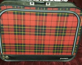 Adorable red plaid Grasshopper vintage suitcase