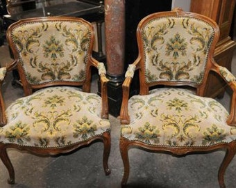 Matching Pair of  French Tapestry Chairs circa 1960, Green & Beige #3750