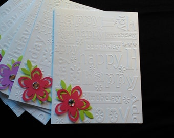 Birthday Note cards/Set of 6/punched flower with gem center