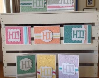 Greeting Cards - Hi Card Set - Handmade Cards - 8pk