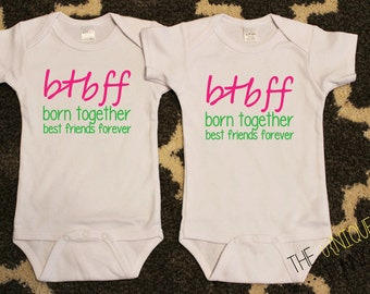Twin Girls, Cute Baby Gift, Born Together Best Friends Forever Twin Girl Bodysuits, White Bodysuits, Twin Gift Sets, Baby Shower Gift