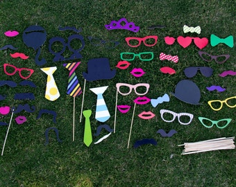 54 Photo Booth Props, Wedding Photo Booth Props, Birthday Photo Props, Photo Prop