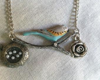 Blue Bird Charm Necklace