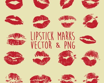 Lipstick Clipart, Lips Clipart, Lipstick Stain Clipart, Lips Mark Clip Art Vector & PNG, EPS, AI Design Elements Digital Instant Download