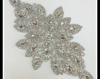 Silver Crystal Applique, Rhinestone Applique, Bridal Applique, Applique, Beaded Rhinestones, Swarovski Applique Silver/rose gold #30892
