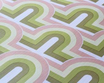 FULL ROLL - 70s Original Vintage Wallpaper - Op - Green Light Green Pink White