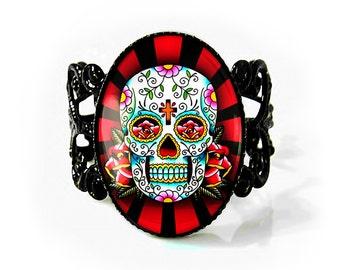 Jet Black Traditional Day of the Dead Sugar Skull Design Adjustable Filigree Ring 61-JBFR