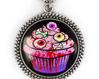 """Antique Silver """"Sweets for the Sweet"""" Zombie Eyeball Cupcake Glass Pendant Necklace 107-SRN"""