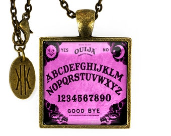 Antique Bronze Purple Ouija Board Glass Pendant Necklace 50-BSPN