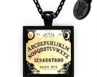 Jet Black Traditional Ouija Board Glass Horror Pendant Necklace 47-JBSPN