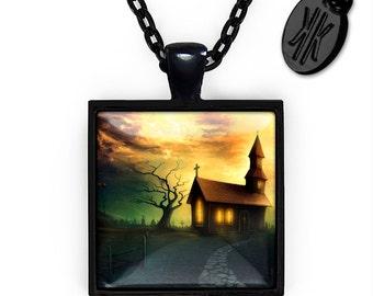 Jet Black Gothic Haunted Church Glass Halloween Pendant Necklace 123-JBSPN