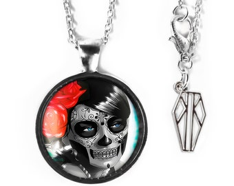 Platinum Silver Day of the Dead Sugar Skull Girl Glass Pendant Necklace 62-SRPN