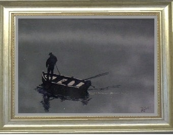 DAWN FISHERMAN -Oil on canvas - 30 x 36 (frame not included)