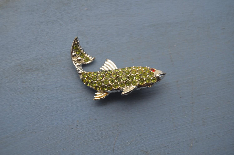 Vintage peridot green rhinestone figural koi fish brooch pin for Green koi fish