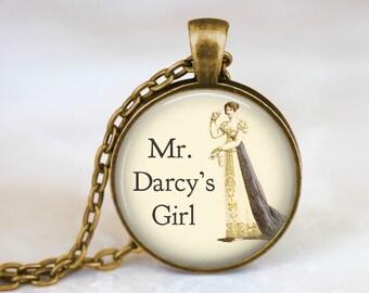 Mr Darcy Girl Necklace • Jane Austen Jewelry • Jane Austen Necklace • Austen Lover Gift • Literary Jewelry • Pride And Prejudice Jewelry