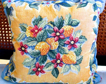 4 Vintage French Fabric Pillows