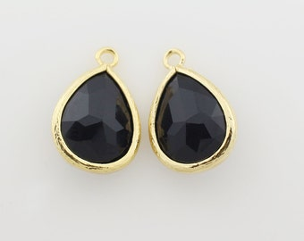 G000308P/Jet/Gold plated over brass/Drop faceted glass pendant/11.4mm x 17.1mm /2pcs